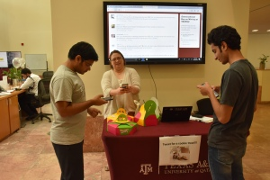 students with professor Amy at TAMUQ